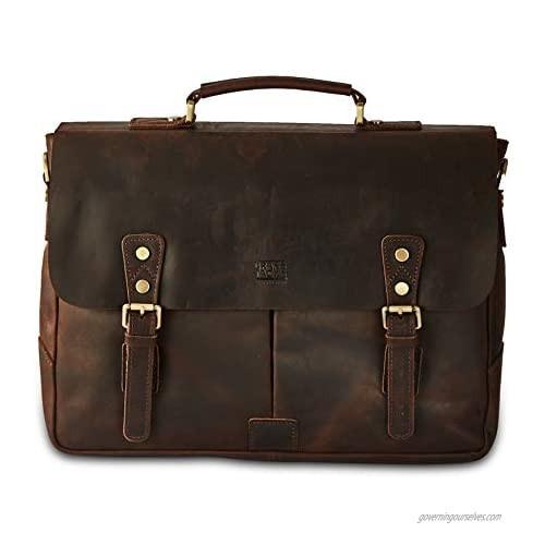 BRASS TACKS Leathercraft Men's Full Crazy Horse Leather 15.6 inch Laptop Briefcase Vintage Buckle Strap Messenger Bag