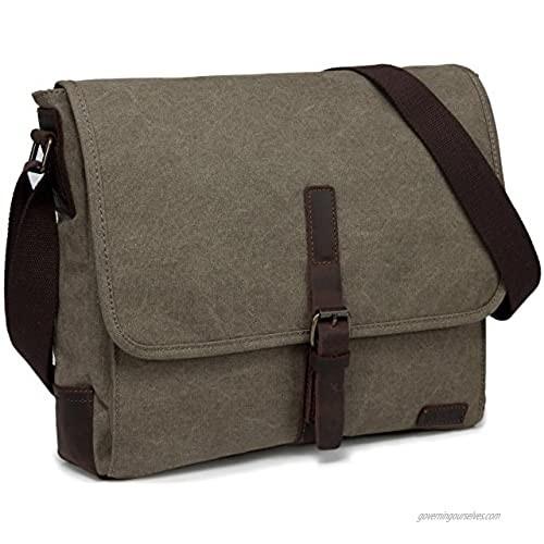 Medium Messenger Bag Vaschy Vintage Leather Canvas Men's Crossbody Shoulder Bag For Ipad