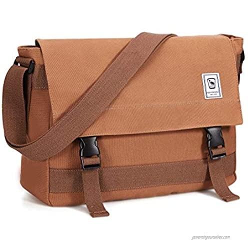 OIWAS Canvas Vintage Messenger Bag - 9.7 Inch Laptop Bag Mens Crossbody Satchel Women School Bookbag Teens Briefcase