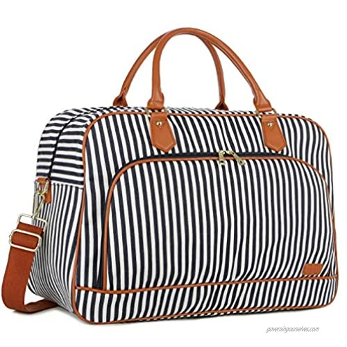 BAOSHA Large Canvas Travel Tote Duffel Bag Carry on Weekender Overnight Bag for Women HB-35 (Blue Striped)