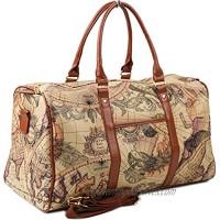 Copi World Map Large Duffle Bag Travel Tote Luggage Boston Style Beige