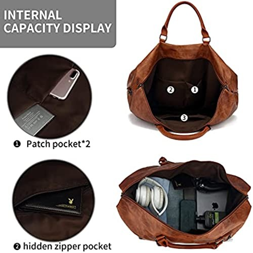 Leather Travel Duffel Tote Bag Overnight Weekender Bag Oversized for Men and Women (Brown Large)
