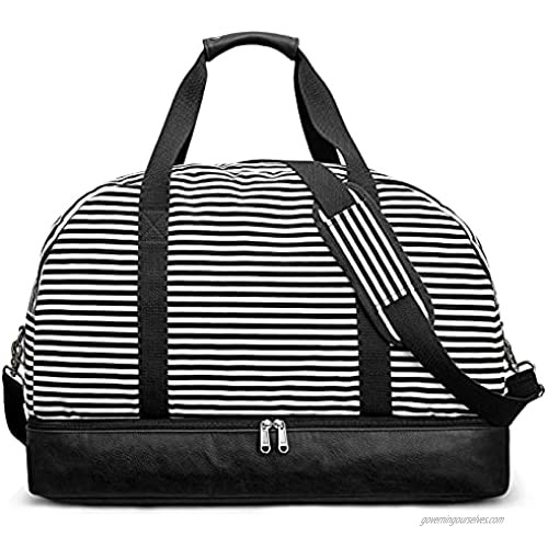 S-ZONE 60L Weekender Bag for Women Men Large Travel Carry on Duffle Weekend Overnight Duffel with Shoes Compartment