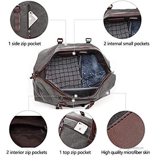 TELOSPORTS Oversized Canvas Weekender Bag Travel Tote Duffel Shoulder Weekend Bag Overnight Carry on Handbag Genuine Leather Handle and Bottom (GRAY)