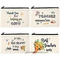 12 Pieces Teacher Makeup Bag Survival Kit Thank You Cosmetic Bag Teacher Pencil Case Bags Travel Toiletry Canvas Pouch with Zipper for Teacher Appreciation Gift (4 Styles)