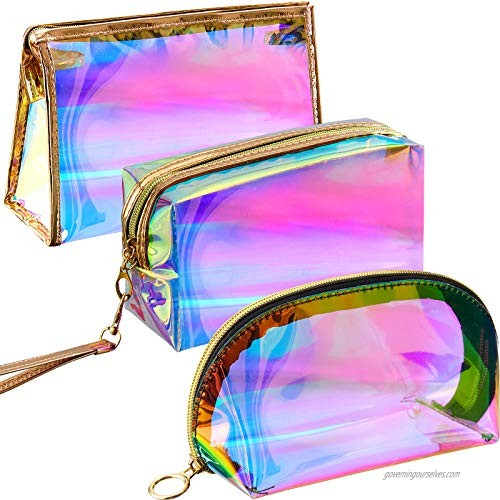 3 Pieces Holographic Makeup Bag Cosmetic Travel Bag Portable Waterproof Toiletries Bag Iridescent Cosmetic Pouch Makeup Organizer for Women Girls