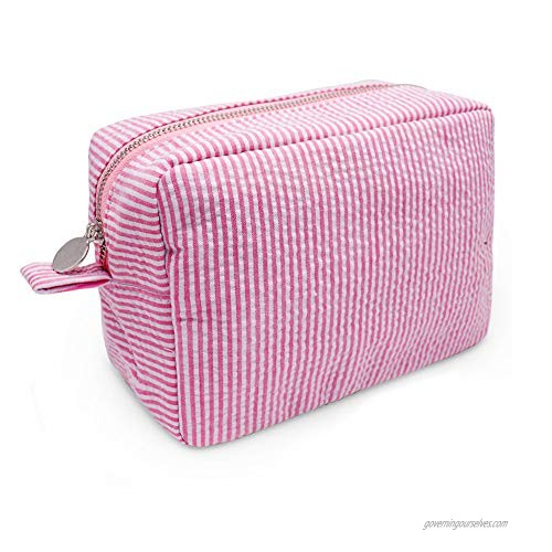 Cosmetic Bag Fashion Seersucker Makeup Pouch with Zipper Closure for Women(Pink)