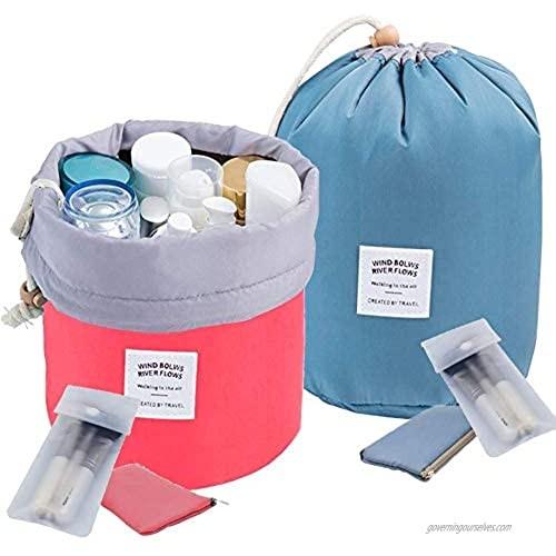 INVODA 2PCS Travel Cosmetic Bag Makeup Organizer Bag Bathroom Cases Toiletry Bag with Drawstring (Red+Blue)