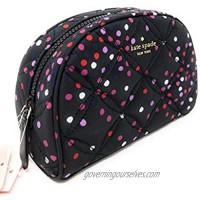 Kate Sapde Medium Dome Cosmetic Make-Up Clutch Bag Dots Black