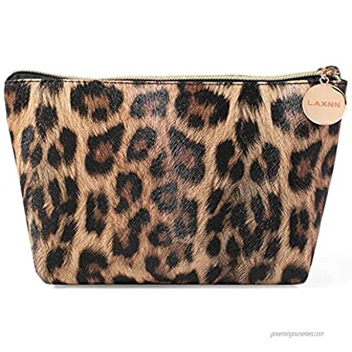 Makeup Bag Cosmetic Lipstick Cute Pouch Toiletry Travel bag and Brush Organizer Purse Handbag For Women Leopard