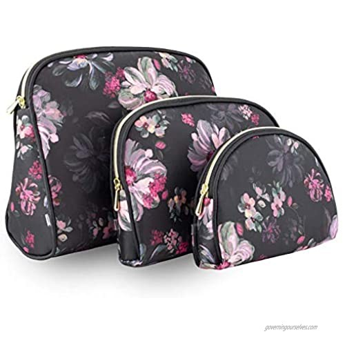 Once Upon A Rose 3 Pc Cosmetic Bag Set  Purse Size Makeup Bag for Women  Toiletry Travel Bag  Makeup Organizer  Cosmetic Bag for Girls Zippered Pouch Set  Large  Medium  Small (Pink Floral Design)