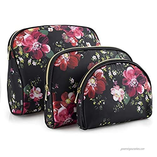 Once Upon A Rose 3 Pc Cosmetic Bag Set  Purse Size Makeup Bag for Women  Toiletry Travel Bag  Makeup Organizer  Cosmetic Bag for Girls Zippered Pouch Set  Large  Medium  Small (Black & Floral)