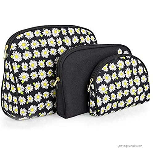 Once Upon A Rose 3 Piece Cosmetic Bag Set Purse Size Makeup Bag for Women Toiletry Travel Bag Makeup Organizer Cosmetic Bag for Girls Zippered Pouch Set Large Medium Small (Daisy Black)