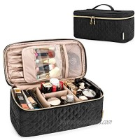 Teamoy Travel Makeup Brush Case  Makeup Train Organizer Bag with Handle for Makeup Brushes(up to 8-inch) and Essentials  Large  Black(BAG ONLY)