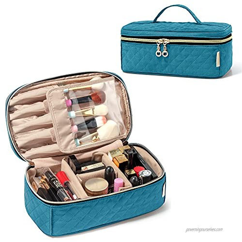 Teamoy Travel Makeup Brush Case  Makeup Train Organizer Bag with Handle for Makeup Brushes(up to 9-inch) and Essentials  Medium  Teal(BAG ONLY)