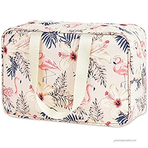 Toiletry Bag Large Cosmetic Bag Travel Makeup Bag Organizer for Women and Girl (Large  Beige Flamingo)