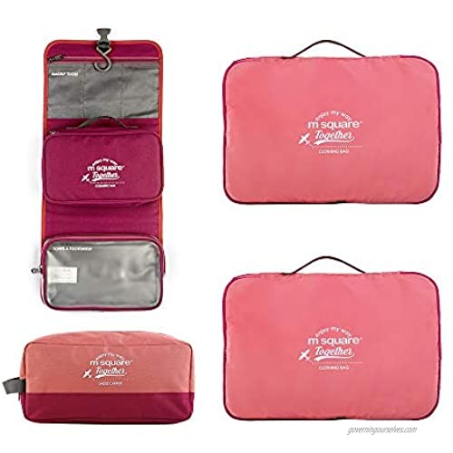 4 PIECES Travel Packing Cube Packing Cubes Travel Bag Organizer with Removable Cosmetic Bag and Shoe Bag PINK