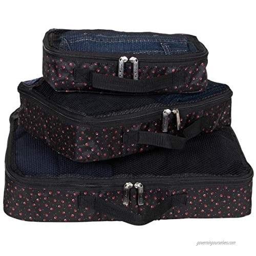 Ben Sherman 3-Piece (Small  Medium  Large) Lightweight Durable Printed Organizer Packing Cube Travel Set for Luggage  Shadow Spot