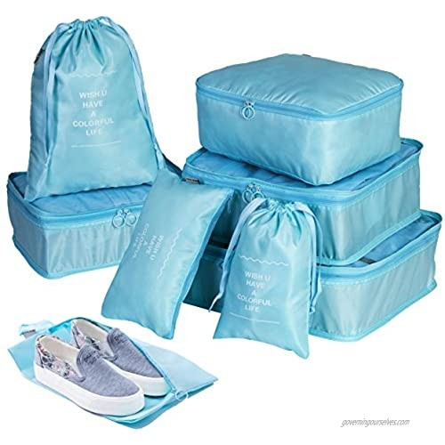 Packing Cube Set Packing Bags - 8 Set Compression Packing Cubes Waterproof Bags With Shoes Bag