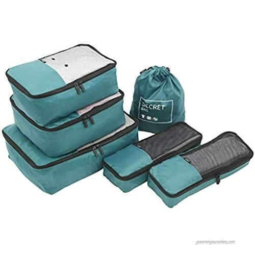 TPRC 6 Piece Packing Cubes  Shoe  Laundry Bag Travel Organizer Set  Teal