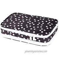 Travel Jewelry Organizer Bag - Portable Jewelry Zippered Storage Case For Necklace  Earrings  Rings  Bracelets  Watches (black polka dot)