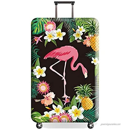 Travel Luggage Cover  Naranja gato Suitcase Flamingo Cute Tropical Protector Washable Spandex Fit for 18-32 Inch Luggage (style2  S)