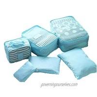 YASSUN Travel Waterproof Storage Bag sixPiece Luggage Storage Bag  Blue