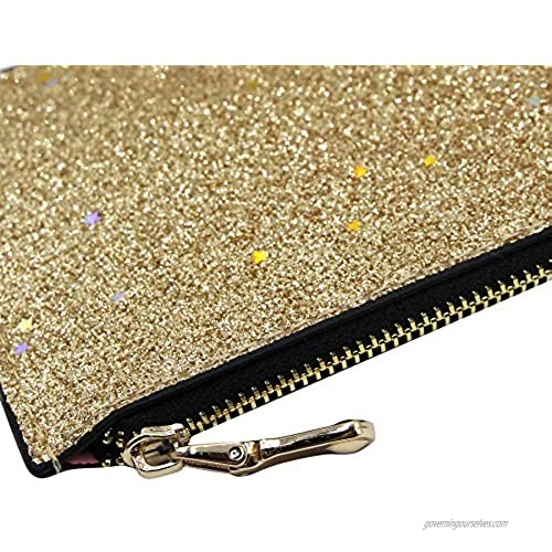 Amamcy Glitter Wallet Pouch Coin Change Purse Shinny Wristlet Travel Passport Holder with Key Ring