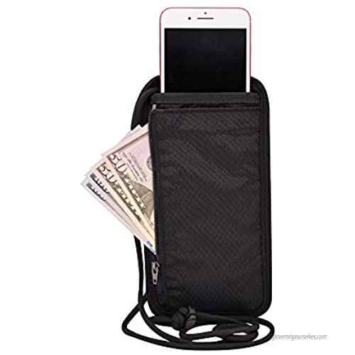Travel Boarding Passport Holder with Neck Strap RFID Blocking Neck Passport Wallet - 4.6 x 8.8 Black