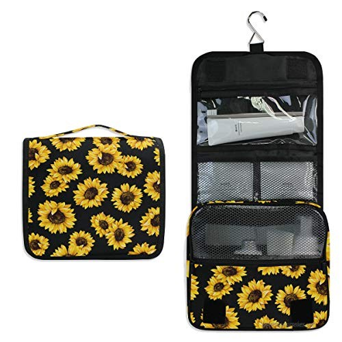 AUUXVA Travel Hanging Toiletry Bag Flower Sunflower Pattern Portable Cosmetic Make up Bag case Organizer Wash Gargle Bag Waterproof with Hook for Women Men for Cosmetics and Toilet Accessories