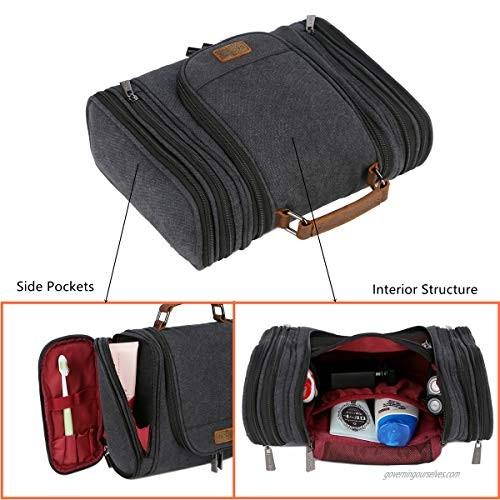 BAOSHA Men's Canvas Hanging Toiletry Bag Travel Wash Bags Shaving Dopp Kit Cosmetic Makeup Organizer Bag XS-11 (Black)