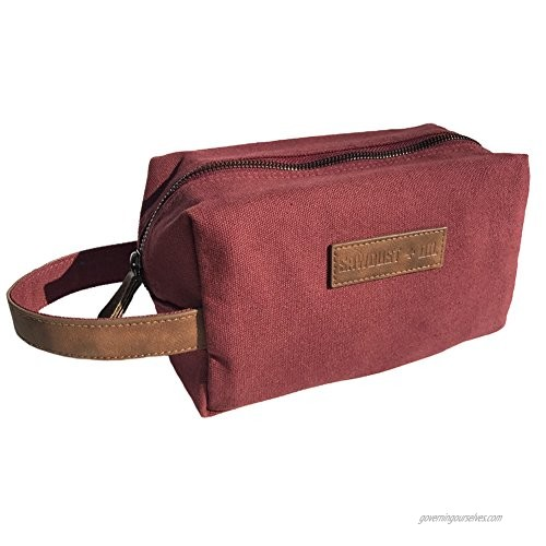 Canvas Travel Toiletry Organizer Shaving Dopp Kit by Sawdust + Oil 9-inch Cosmetic Makeup Bag Shaving Kit Dopp Bag for Men or Women Travel Kit Weekender Tote Groomsmen Gift Fathers Day (Maroon Red)