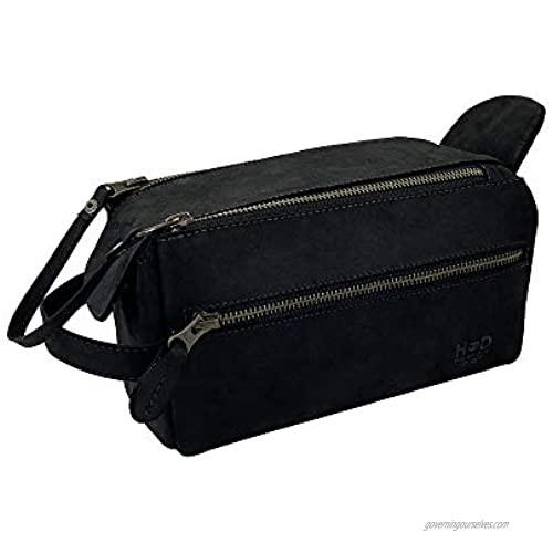 Hide & Drink  Leather Toiletry Bag w/ Handles  Hygiene Organizer  Travel Dopp  Bathroom  Shaving  Storage  Travel & Grooming Essentials  Handmade Includes 101 Year Warranty (Charcoal Black)