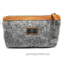 Mountain Made Wool and Pure Leather Luxury Travelers Small Cosmetic Bag  Toiletries  or Utility Bag For Women and Men. Perfect size to fit inside your purse.