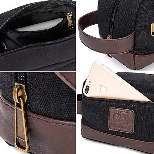 Toiletry Bag Travel Canvas Mens Leather Makeup Bag Organizer Cosmetic Bag Mens Shaving Bag Dopp Kits Black…