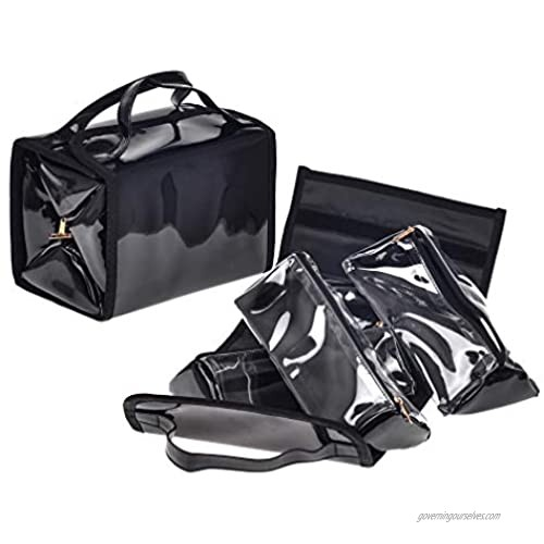 Waterproof Portable Hanging Roll-Up Black Patent Leather Travel Makeup Bag Cosmetic Case Bag Toiletry Kits Organizer with 4 Removable Storage Pouches