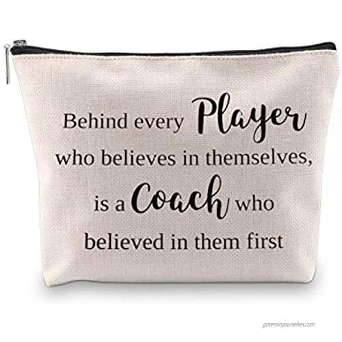 WCGXKO Coach Gift Behind Every Player Who Believes Themselves Is A Coach Who Believed In Them First Coach Zipper Pouch Cosmetics Bag (Behind every player)