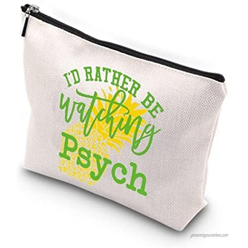 WCGXKO Detective TV Show Inspired Zipper Makeup Bag Travel Bag for Mom Sister Best Friend Wife Aunt (watching psych)