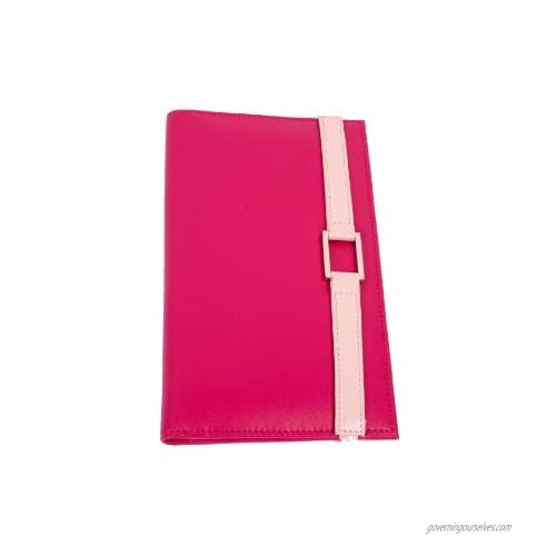 Leather Travel Wallet- Hot Pink with Pale Pink Accent