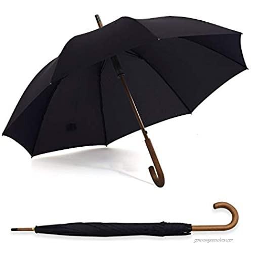 ABCCANOPY Umbrella Rain&Wind Teflon Repellent Wooden J Handle Classic Golf Umbrella Windproof UV Protection 50+ Stick Umbrellas black