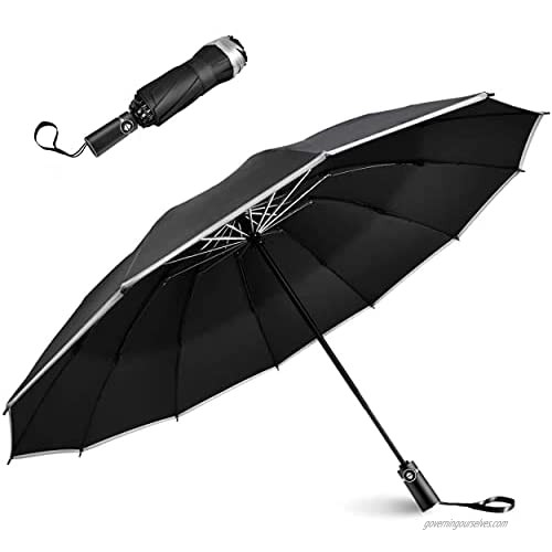 Automatic Inverted Folding Travel Umbrella With Reflective Stripe Reverse Led Light Umbrella Three Folding 10 Ribs Windproof Umbrellas Inverted Folding Design not wet boby not wet car Rain and Sun protection