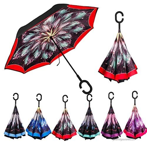 Dream Catcher Reverse Umbrella -Automatic Open Double Layer Inverted Umbrella Cars with C-Shaped Handle Self Standing to Spare Hands  Best for Travelling and Car Use Red