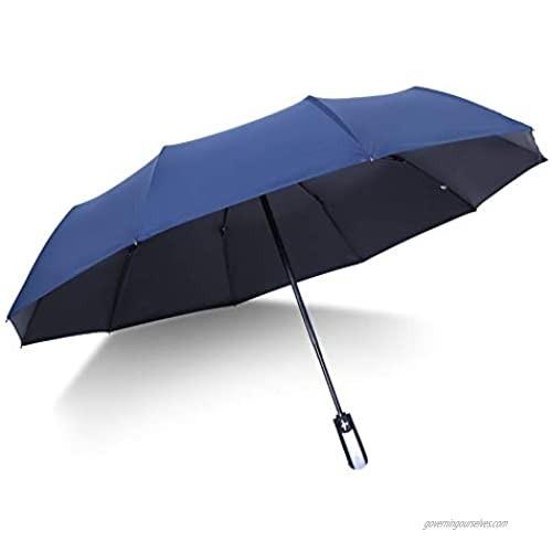 Folding Umbrella Windproof Travel Reinforced Canopy Ergonomic Handle Auto Open/Close Dual Layers  Less UV Rays(Navy Blue)