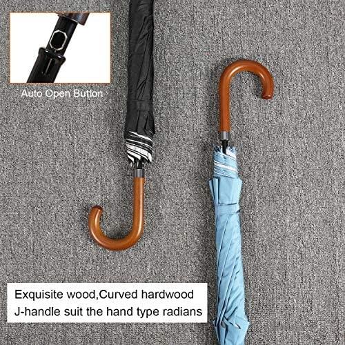G4Free 52/62inch Wooden J Handle Golf Umbrella Windproof UV Protection Classic Stick Wedding Cane Umbrellas Auto Open Cane Hook Handle