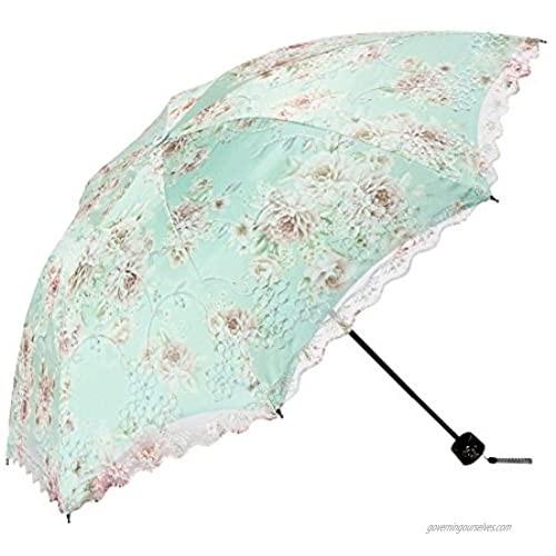Honeystore Flower Print Vintage Parasol Anti-UV Folding Lace Embroidery Umbrella 3 Folding Green