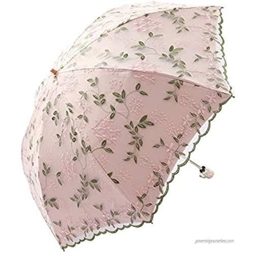 Honeystore Handmade Embroidery Lace Princess Parasol Wedding Decorative Umbrella 03Pink