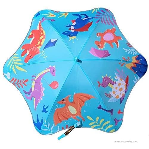 KANGADOO Dinosaurs Umbrellas for Rain- Kids Cute Pattern  Safe Round Edges  Windproof and Rainproof…