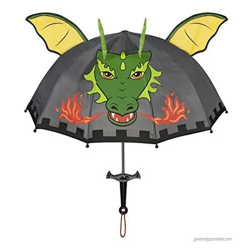 Kidorable Dragon Knight Grey Umbrella for Boys w/Fun Sword Handle  Pop-Up Dragon Wings