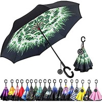 Monstleo Inverted Umbrella Double Layer Reverse Umbrella for Car and Outdoor Use by  Windproof UV Protection Big Straight Umbrella with C-Shaped Handle and Carrying Bag (pugongying)