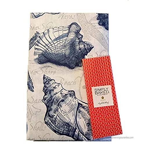 Seashells Nautical Vinyl Flannel Back Tablecloth with Zipper Closure for Umbrella Table Hole Beach Ocean Conch Shell Starfish Coastal 52 x 70 Oblong (Bundle) Paper Straws Included
